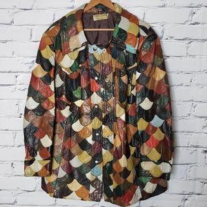 Vintage Patchwork Fishscale Leather Jacket